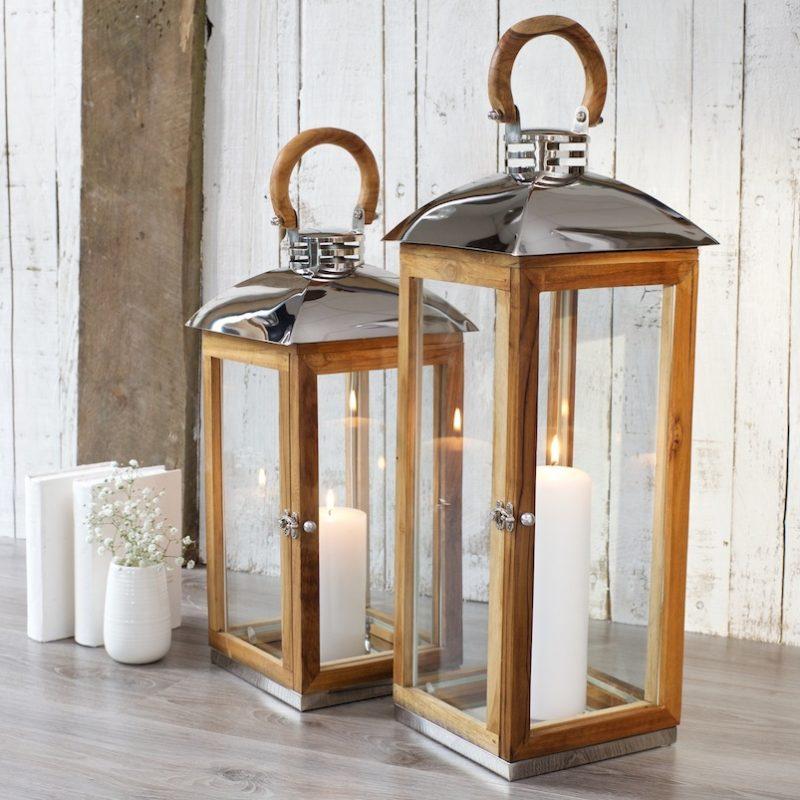 Wood candle lantern hope cove zaza homes for Wooden garden lanterns