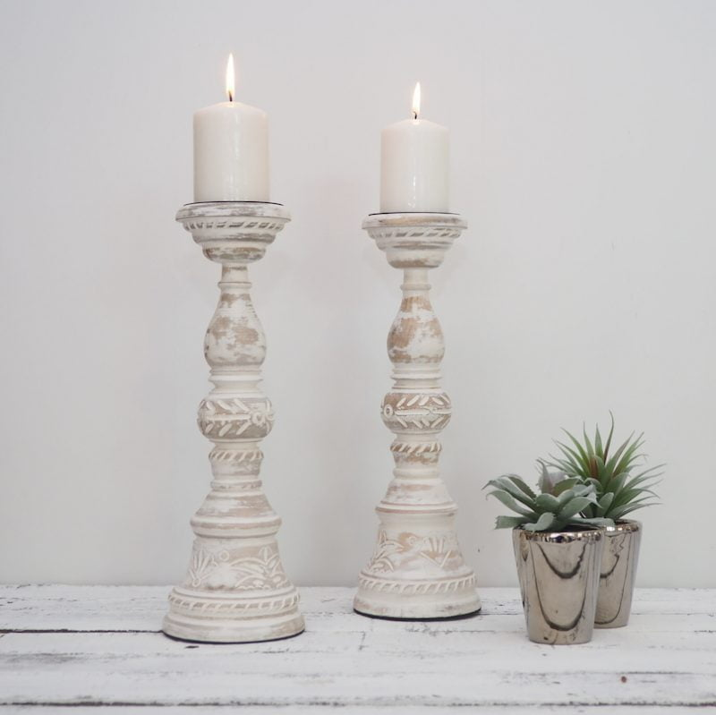 white wood pillar candle holders