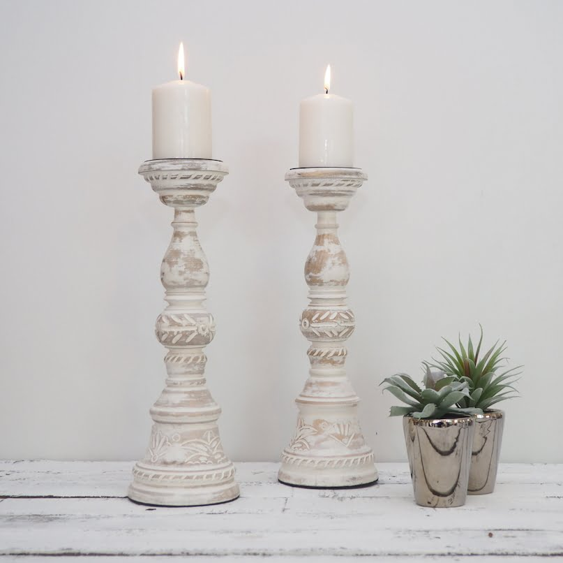 White Wood Pillar Candle Holders Pillar Candle Holders