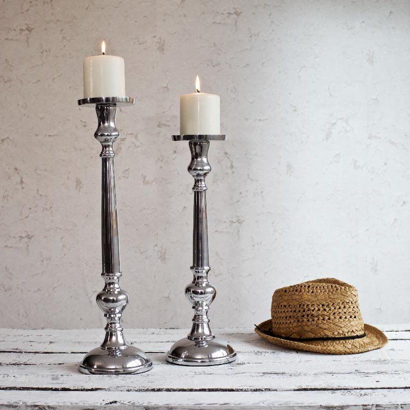 Classic Silver Candle Holder - ZaZa Homes