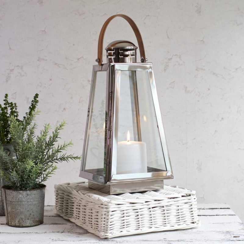 silver and glass candle lanterns