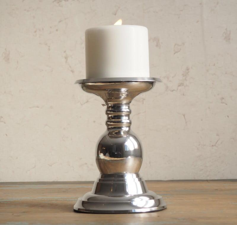 Silver Pillar Candle Holder Zaza Homes