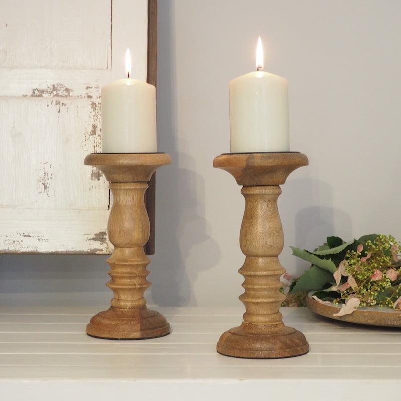Natural Wood Pillar Candle Holder Zaza Homes