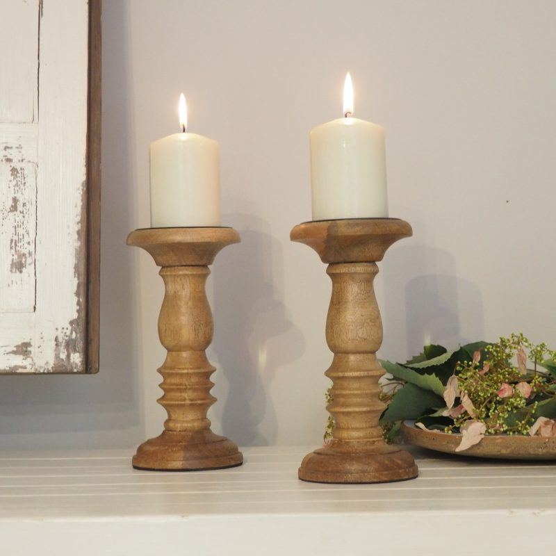 Natural Wood Pillar Candle Holder Zaza Homes