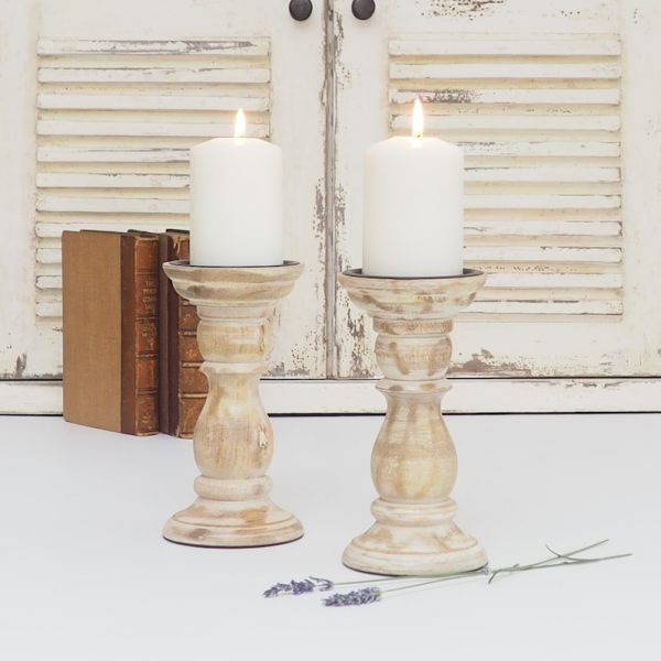 white distressed wood pillar candle holders