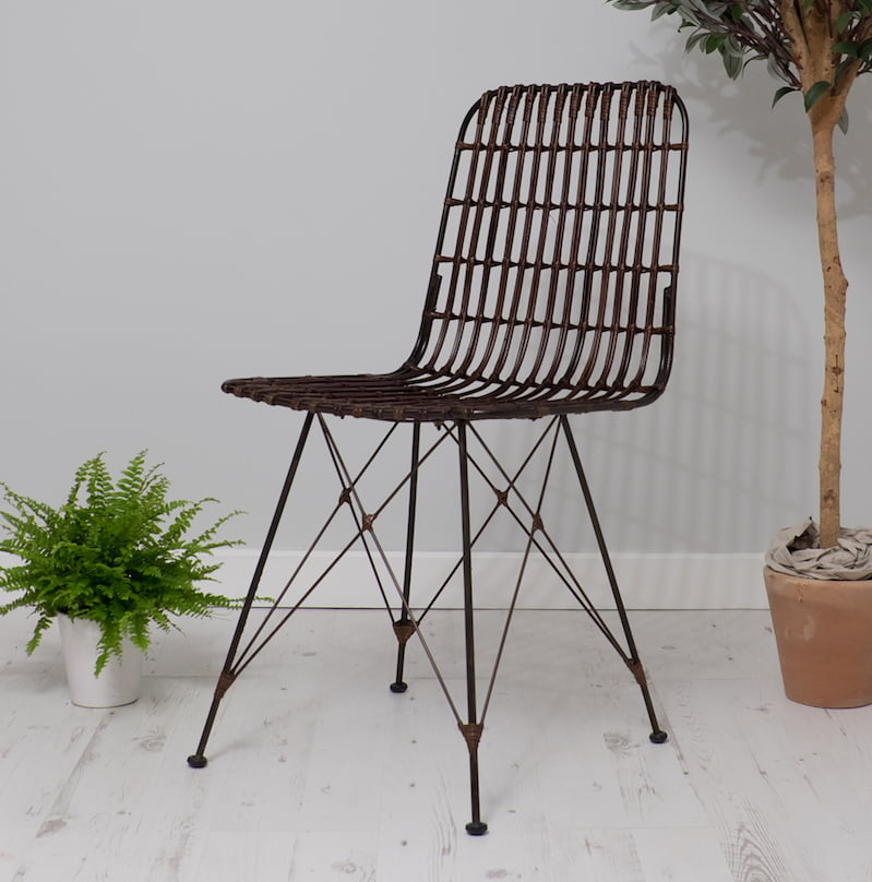 Brown rattan dining chairs