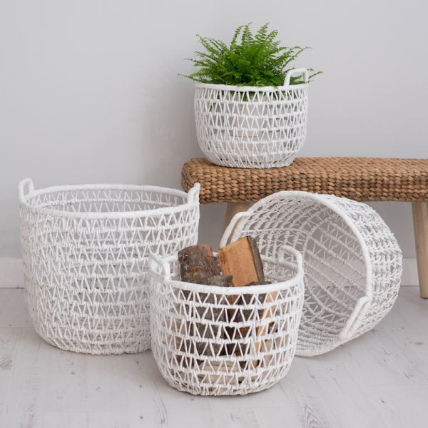 white wicker baskets