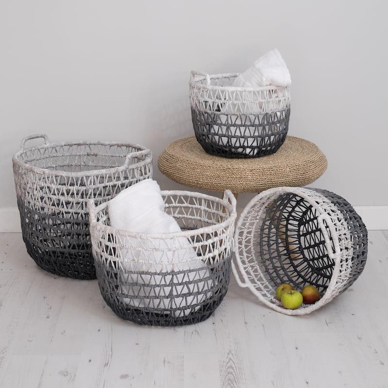 grey wicker storage baskets