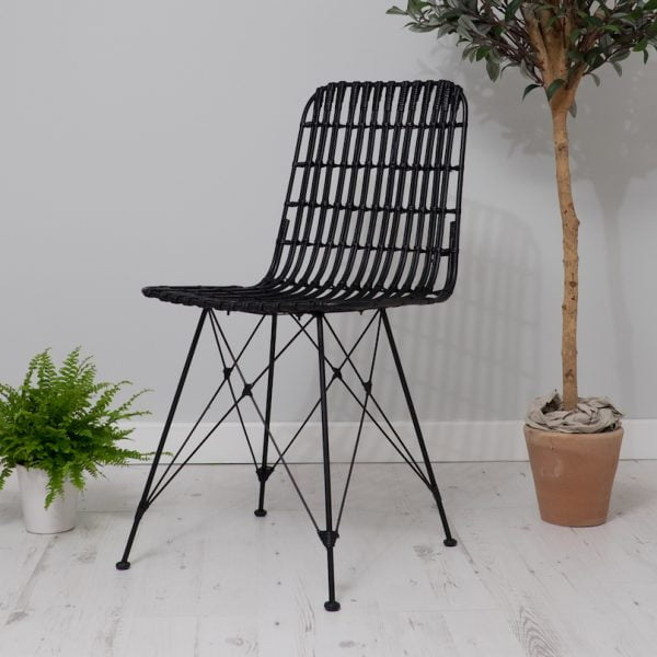 Black rattan dining chairs