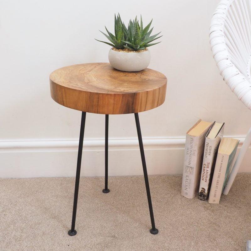 Industrial Side Table Tree Trunk, Tree Trunk Furniture Uk
