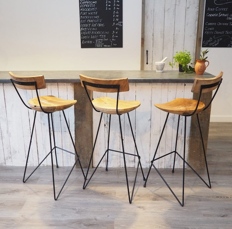 Industrial Bar Stool With Backrest Za Za Homes