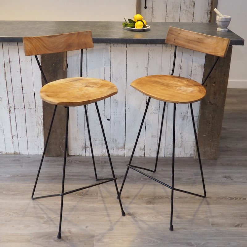 Industrial Wood Bar Stool With Backrest Zaza Homes
