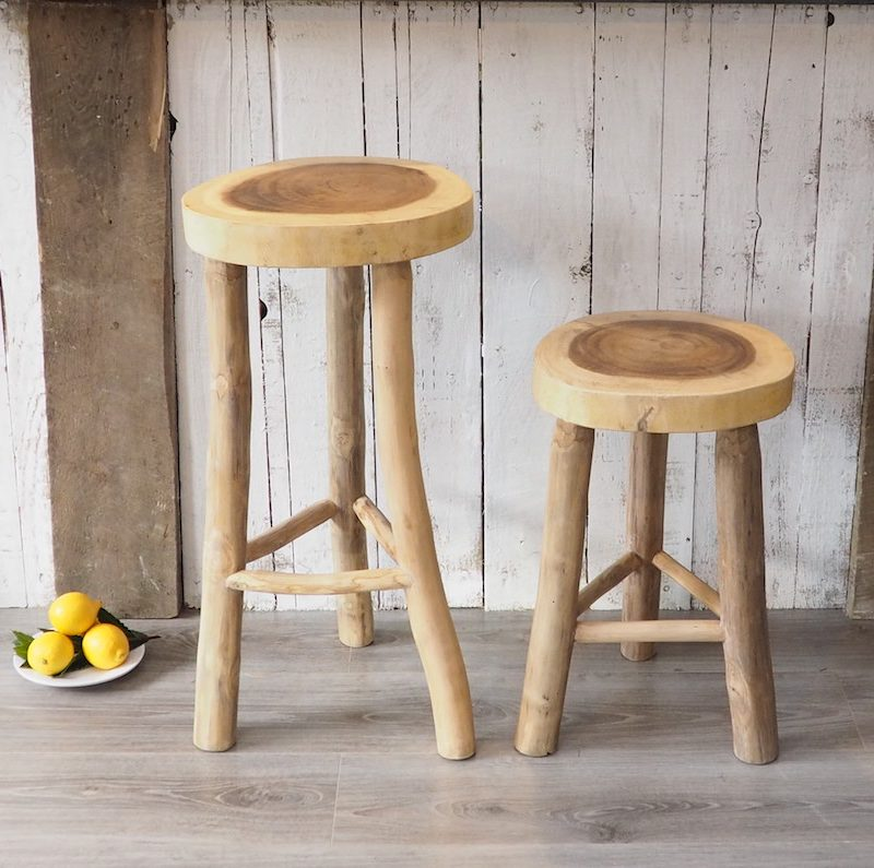 Rustic Wood Kitchen Stool Zaza Homes