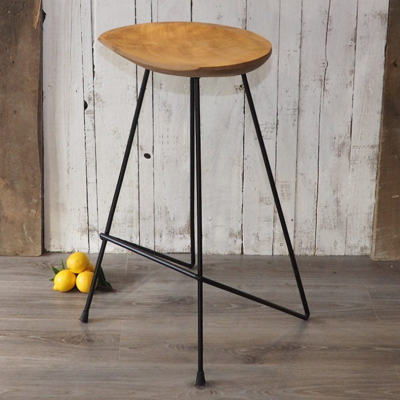 Industrial Wood Bar Stool Zaza Homes