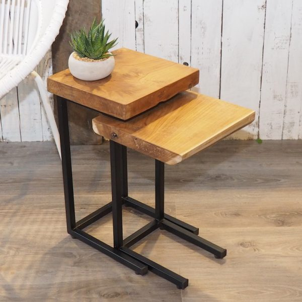 Rustic Wood And Mirror Coffee Table: Rustic Wood Slice Coffee Table On Hairpin Legs