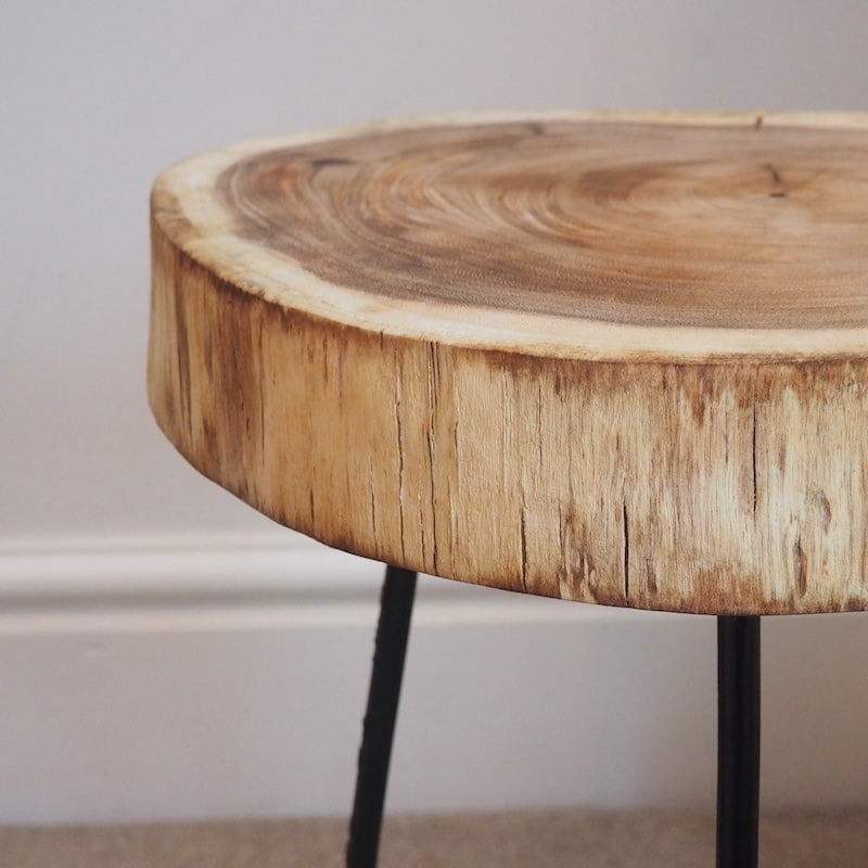 Large Tree Stump Coffee Table: Industrial Side Table 'Tree Trunk'