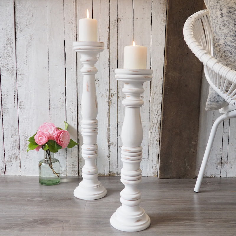 Tall White Wooden Candlestick Za Za Homes