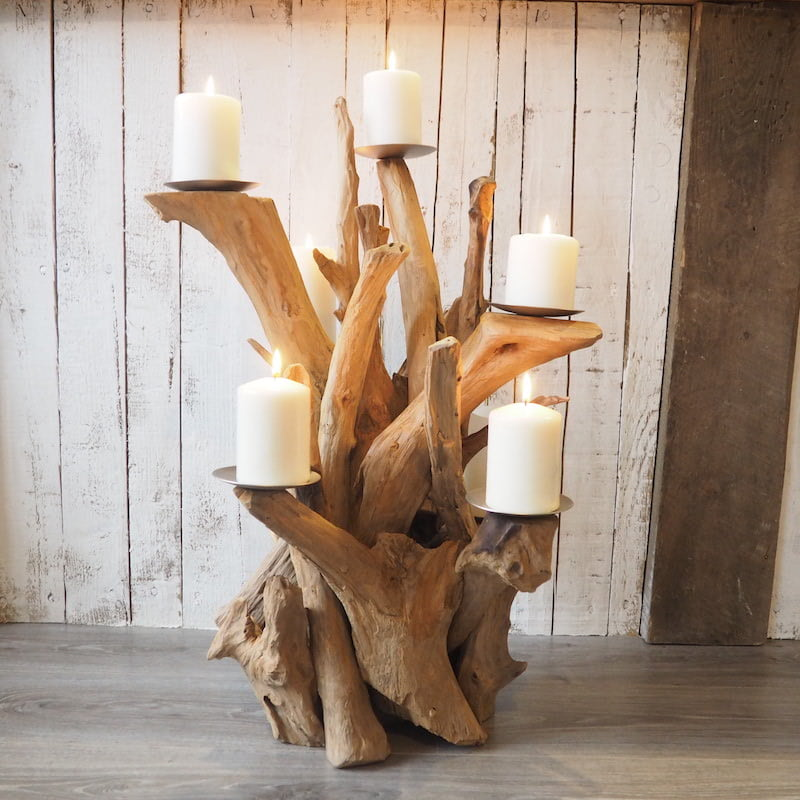 Rustic Wooden Candle Holders Wooden Candelabra Za Za Homes