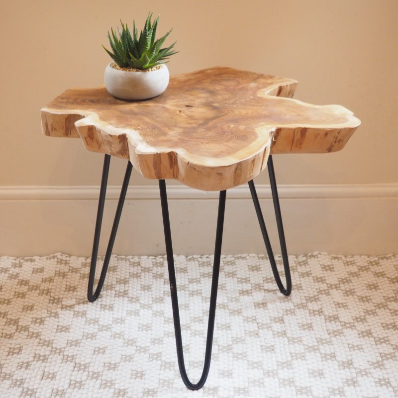 Rustic Wood Slice Coffee Table On Hairpin Legs