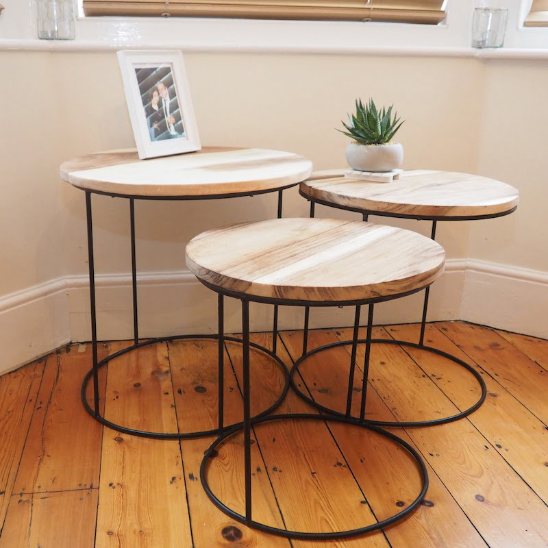 Industrial Nest Of 3 Coffee Tables Wood And Metal