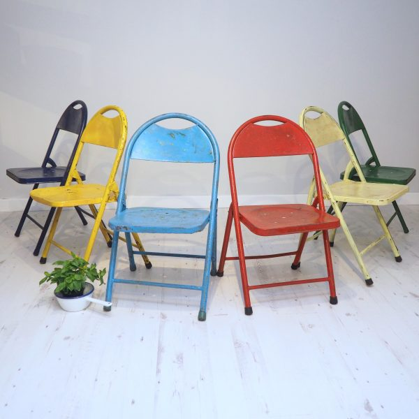 vintage folding chairs metal