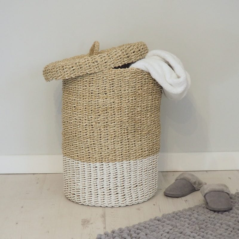 large wicker laundry basket with lid