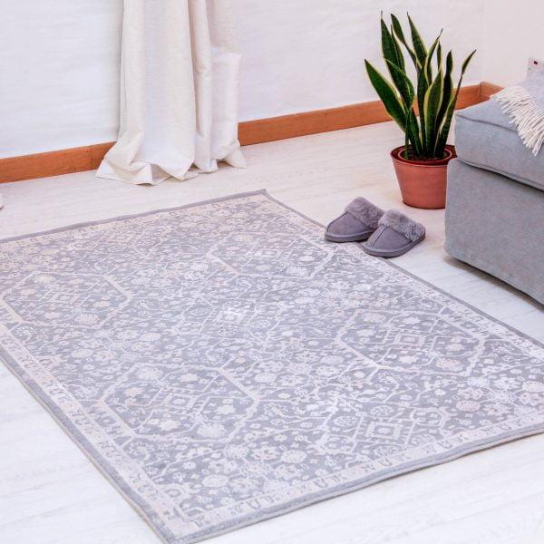 grey pattern rug