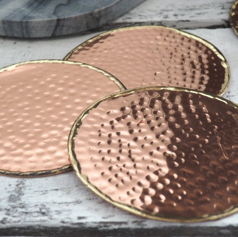 hammered copper coasters