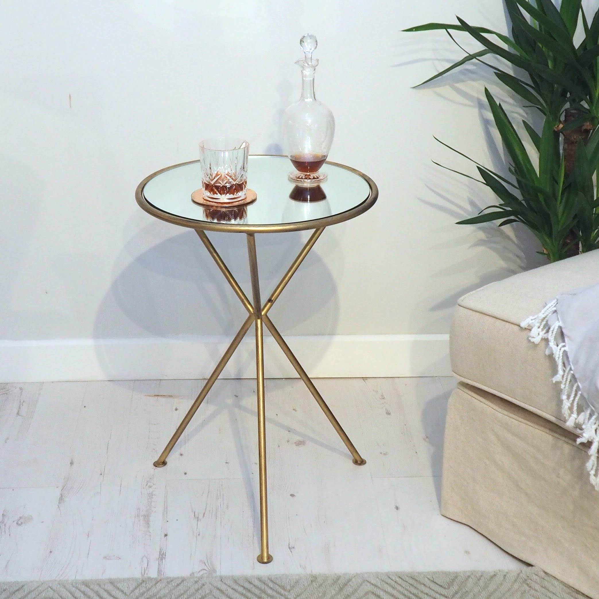Accent Round Mirrored Side Table Zaza Homes
