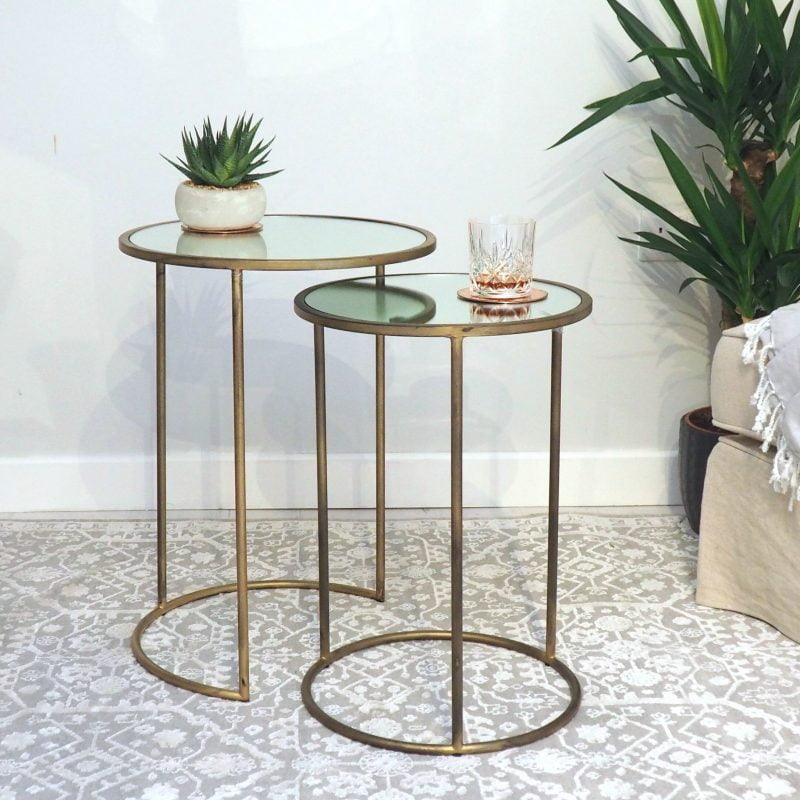 Brass and glass nest of tables