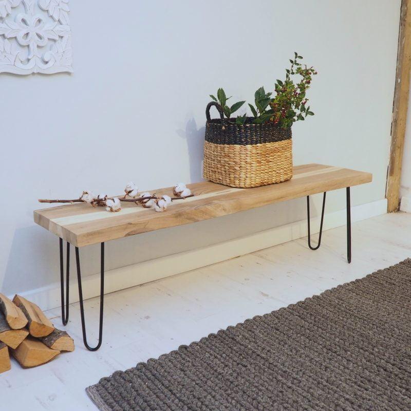 Wondrous Rustic Wooden Bench Industrial Natural Wood Za Za Homes Spiritservingveterans Wood Chair Design Ideas Spiritservingveteransorg