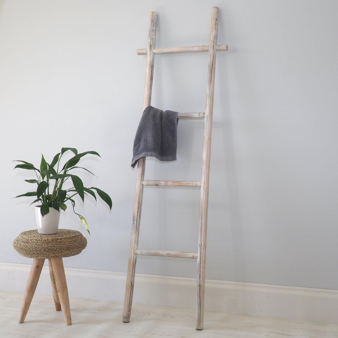 White Wooden Towel Ladder Zaza Homes